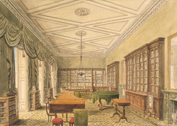 Watercolour of the library by John Chessel Buckler, 1820