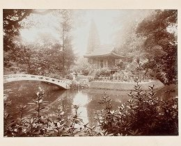 Black and white photo of Japanese Garden at Tatton Park