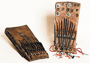 Musical instruments collected by Maurice including a thumb piano