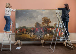 julia-dalzell-and-caroline-schofield-with-the-cheshire-hunt-painting