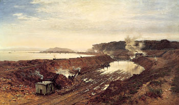 The Excavation of the Manchester Ship Canal, Eastham Cutting, 1891 by Benjamin Williams Leader, R.A