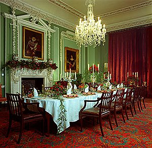The dining room decorated for Christmas