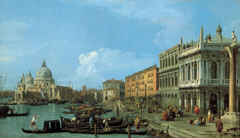 The Molo looking West, with the Dogana and S. Maria della Salute, Venice by Canalett